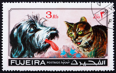 Canvas Prints Hand drawn Sketch of animals Postage stamp Fujeira 1971 Dog and Cat, Pets