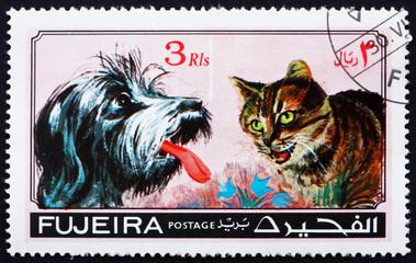 Foto op Canvas Hand getrokken schets van dieren Postage stamp Fujeira 1971 Dog and Cat, Pets