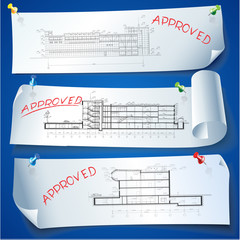 Set of Architectural Web Banners. Isolated on light background