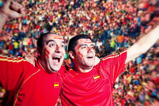 Football Supporters Watching a Match