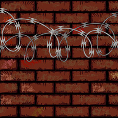 Brick wall and razor wire