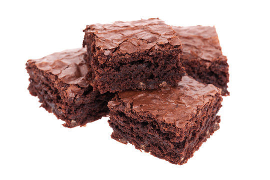 Stack of brownies isolated on white