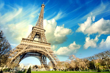 Wall Mural - Eiffel Tower glory on a cold and sunny Winter day in Paris.