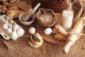 ingredients for the baking of bread