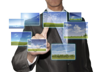 Business man touching he environment screen