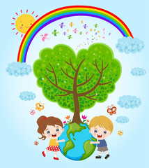 Spoed Fotobehang Regenboog children hugging the earth