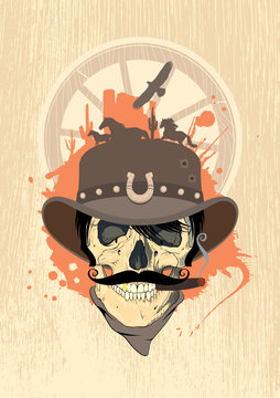West design template with cowboy skull