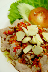 Thai Style Spicy Pork Salad with Lime, Garlic and Chili Sauce