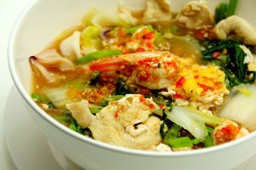 Thai Style Sukiyaki Soup with Pork and Seafood