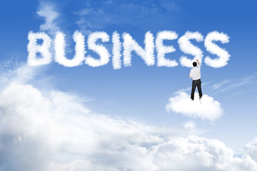 Business man drawing Business cloud text