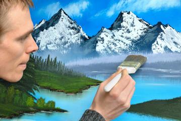 Künstler beim Malen einer Landschaft