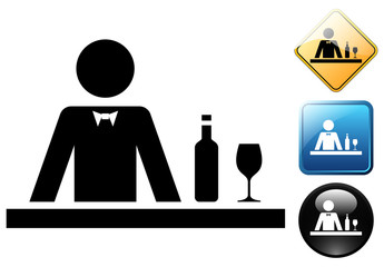 Barman pictogram and icons