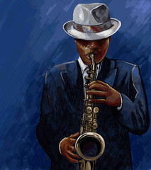 Spoed Fotobehang Muziekband saxophonist playing saxophone on a blue background