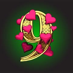 Vector golden figure with hearts