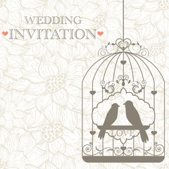Printed roller blinds Birds in cages Wedding invitation