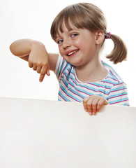 little girl pointing white blank with copy space