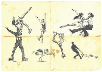 Hand drawn collection of winter sports - figure skating.