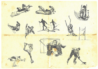 Hand drawn a large collection of winter sports