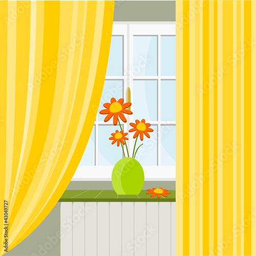 Finestra con tenda gialla immagini e vettoriali royalty for Finestra immagini