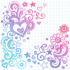 Valentines Day Love Hearts Sketchy Notebook Doodles Vector