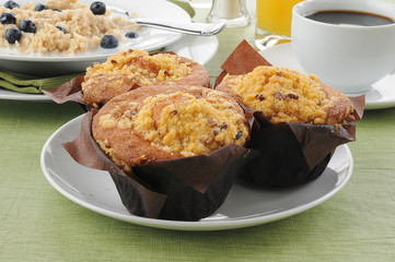 Coffee cake muffins with oatmeal