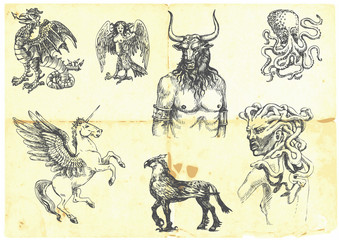 Mystical creatures.According to ancient Greek myths.