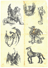 A large series of mystical dragons on an old sheet of paper