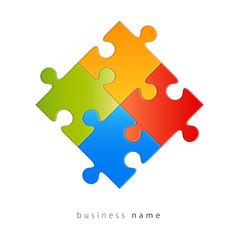 Abstract logo puzzle, colors, vector