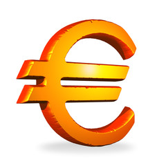 3D Red golden euro symbol isolated over a white background