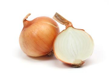 onion half cut on white background.