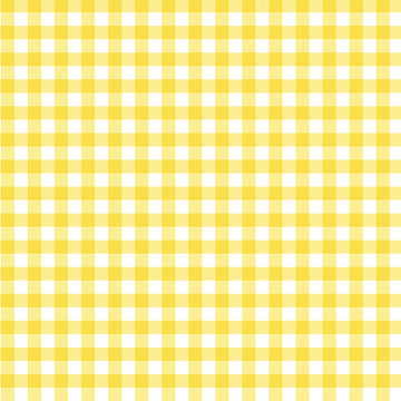 Yellow Gingham Fabric Background