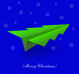 Vector concept of the Christmas tree and origami airplane