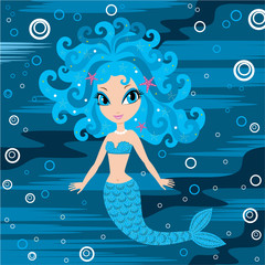 Fotobehang Zeemeermin Mermaid cartoon