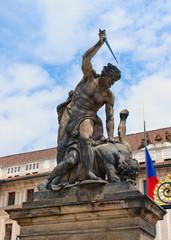 Left Sculpture by the gate of Prague castle
