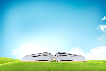 Open book on he green grass field over the blue sky