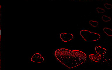 Valentinstag, viele leuchtende rote Herzen