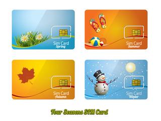 Set of four beautiful sim card