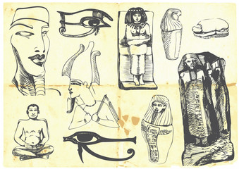 Egyptian collection of symbols, religion, images, people