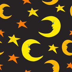 Smiling half moon and stars seamless pattern illustration on bla