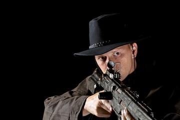 Foto op Aluminium Art Studio Cowboy with high powered rifle
