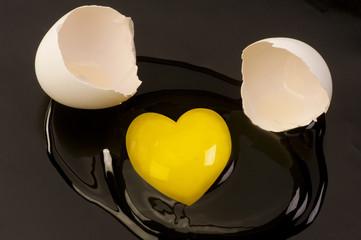 Heart Shape Egg Yolk.