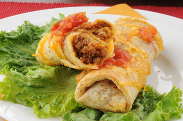 Closeup of beef and bean chimichangas
