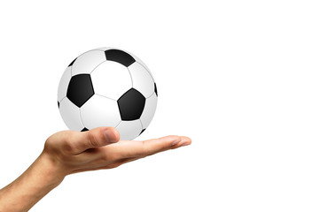 Soccer ball on a white background and hand