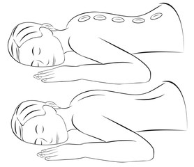 illustration of woman have hot stone massage