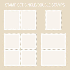 Blank Stamps Single/Double Beige Background