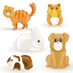 Printed kitchen splashbacks Cats Vector set of cartoon pets