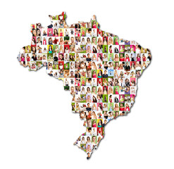 map of brasil with a lot of people portraits