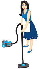 Housewife vacuums
