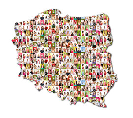 map of poland with a lot of people portraits
