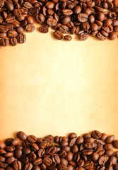 Coffee beans with old paper background for notes